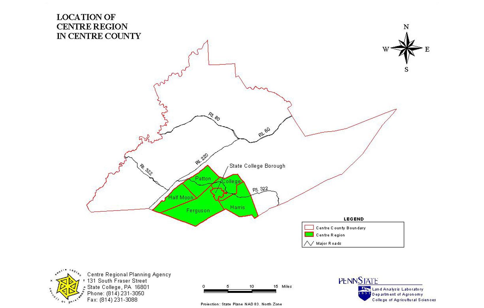 Centre Region Map